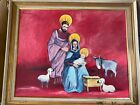Large Tavaglini Folk Art Nativity Scene Oil Painting Signed And Framed