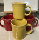 Set Of Four Homer Laughlin Fiesta 2 Yellow And 2 Red Mugs