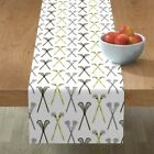 Table Runner Crossed Lacrosse Sticks Sports Native Patterns Cotton Sateen