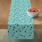 Table Runner Bohemian Blue Native Boho Cactus Eyelashes Modern Cotton Sateen