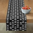 Table Runner White Tribal Triangles Nursery Decor Geometric Native Cotton Sateen