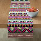 Table Runner Rainbow Geometric Stripe Pattern Aztec Native Pink Cotton Sateen