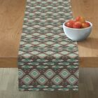 Table Runner Navajo Feathers Southwestern Boho Native Arrows Cotton Sateen