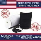 Elastic Band 1 4 inches width 6mm for DIY mask White Black 10 to 500 Yard