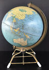 Vintage MCM World Globe Mid Century 8 Table Top Metal Wire Base