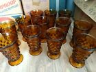 Indiana Glass Whitehall Colony Cubist Amber Footed Ice Tea Water Tumblers (12)