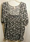Faded Glory Womens Stretch Blouse 4X Black  White