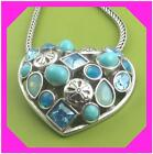 BRIGHTON BLUE LAGOON Heart Turquoise Blue Silver Retired NECKLACE NWotag