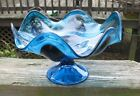 Art glass bowl Gorgeous deep blue glass pedestal Flower petal shape FREE SHIP
