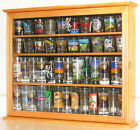 Tall Shot Glass Display Case Cabinet Shooters holder Wall Shadow Box Oak Finish