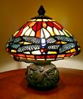 Dragonfly Stained Glass Table Lamp 9 inches high GORGEOUS