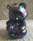 Fenton Bear Purple Carnival Glass with Hand Painted Flowers FREE SHIPPING