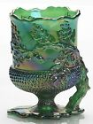 Spooner Spoonholder Acorn Hunter Green Carnival Glass Mosser USA