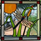 Dragonfly and Cattail Stained Glass art handcrafted