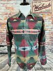 Woolrich Aztec Pattern Green Red Navajo Native American Thick Chamois Shirt XL