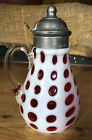 CRANBERRY OPALESCENT POLKA DOT SYRUP PITCHER COIN DOT West Virginia Glass