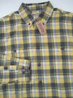 Mens Large Tall Duluth Trading Co Free Swingin Flannel SHirt yellow plaid button