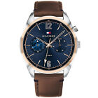 TOMMY HILFIGER Deacan Mens Multifunction Watch, Blue Dial Day/Date, Leather Band