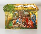 RARE VINTAGE UNUSED 1940 CHRISTMAS CARD FOLD OUT POP UP NATIVITY SCENE MADE USA