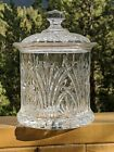 VINTAGE BEAUTIFUL CRYSTAL GLASS BISQUIT CANDY TOBACCO JAR BARWARE DECOR