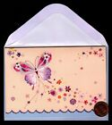 PAPYRUS Butterfly Pink Purple Flowers GLITTERED Small Greeting Note Card NEW