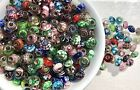 Murano Glass Charm Bead Wholesale Lot 50 Pcs Mix Hand Blown Stainless Steel Core