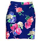 Kate Spade Blooms Pencil Skirt Size 8 Womens Royal Blue Hyacinth Floral Lined