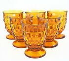 VINTAGE INDIANA AMBER GLASS COLONY CUBIST FOOTED 6 TUMBLERS