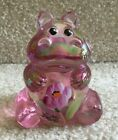 Fenton Art Glass Pink Carnival Hippo Figurine with Large Flowers FREE SHIPPING