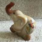 Fenton Art Glass Chocolate Slag Elephant with Butterfly Painting FREE SHIPPING