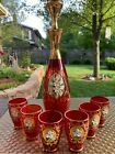 Vintage Bohemian Ruby Red Glass w gold 7 piece decanter and cordial set