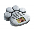 Pet Memorial Stone Grave Marker Garden Paw Print Dog Cat Headstone Photo Plaque