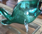 Large HAND BLOWN Puffed GLASS ART 14GREEN FISH Open Mouth Outrageous Beautiful