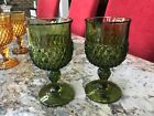 Indiana Glass Goblets Green Diamond Point Pedestal Footed Vintage 12 oz