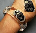1 1910 Black Glass Cameo Rhinestone Cuff w Black Wreath of Roses Crowning Head