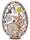 Extra large Handmade Czech glass rhinestone flower bunny Easter egg ornament