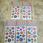 LISA FRANK Hearts Smiley Faces Peace Signs Puffy Glitter Stickers NIP RARE 2014