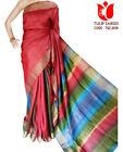 MultiColor Rainbow Pure Tussar Silk Saree Partywear Women Sari Zari Weaving