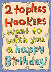 Two Topless Hookers Funny Masculine Fishing Birthday Card for Him Man Men