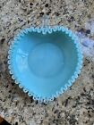VINTAGE FENTON HEART SHAPED TURQUOISE MILK GLASS SILVER CREST CANDY DISH 1956 59