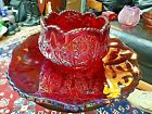 INDIANA Glass Heirloom Sunset Red Carnival Sauce Bowl  Plate Set BEAUTIFUL