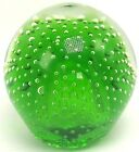 Blown Glass Art Glass Paperweight Green w Controlled Bubble Murano