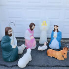 VTG 8 Pc Blow Mold Nativity Set Empire Outdoor Full Size Donkey Sheep Shepherd