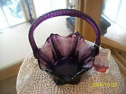 Fenton Art Glass Vintage Amethyst Basket With Twisted Rope Handle Scalloped Edge