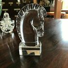 Steuben Crystal Art Glass Horse Head Chess Piece Knight