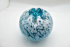 Antique Blue Spangle Glass  Silver Mica Glass Rose Bowl Pinched Rim Excellent