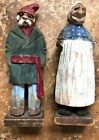 Vintage Hand Carved Painted Wooden Figures Couple Signed Canada