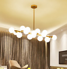 16 Heads Gold LED Chandelier Round Glass Ceiling Lamp Home Pendant Fixture