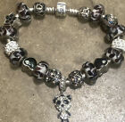 Beautiful Authentic Pandora Bracelet Filled With Murano Glass And Crystal Charms