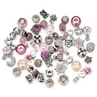 10pcs Mixed Pink Crystal Glass Beads Crystal Alloy BEADS Fit Charm Bracelet